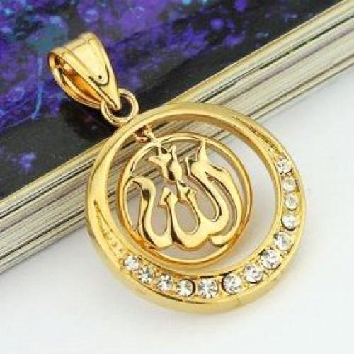 Двухсоставной кулон «Ислам» с фианитами (22мм, круг.) Image 0
