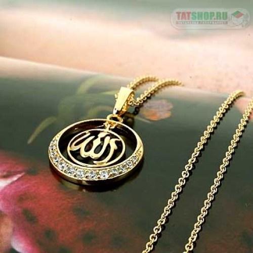 Двухсоставной кулон «Ислам» с фианитами (22мм, круг.) Image 3