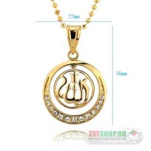 Двухсоставной кулон «Ислам» с фианитами (22мм, круг.) Image 1