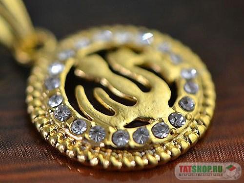 Позолоченный кулон «Аллах» c фианитами (17мм, круглый) Image 1