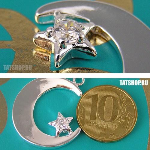 Серебряный кулон «Полумесяц со звездой» с фианитом и цепочкой Image 2