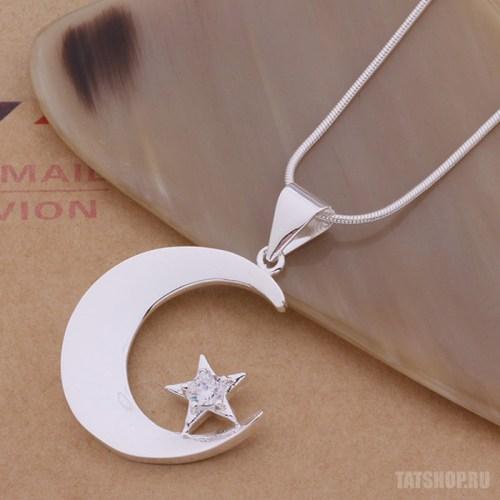 Серебряный кулон «Полумесяц со звездой» с фианитом и цепочкой Image 0