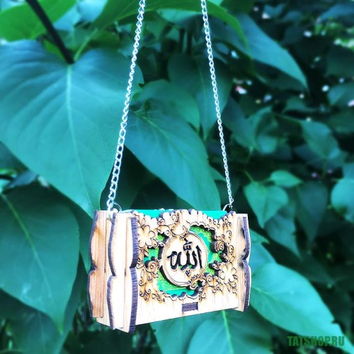 Миниатюрный Коран в деревянном футляре, на цепочке Image 2