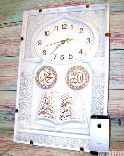 Большие, мусульманские настенные часы белого цвета (звуковые) Image 2
