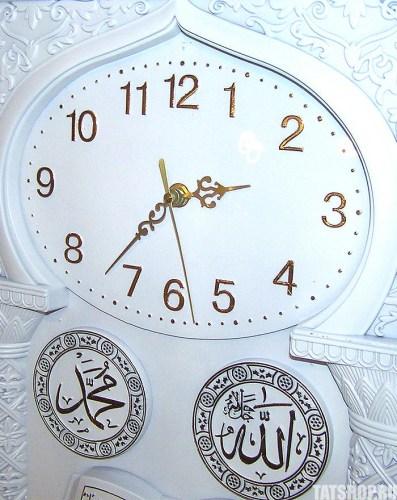 Большие, мусульманские настенные часы белого цвета (звуковые) Image 1