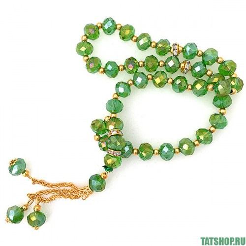Декоративные чётки, зелёное стекло «под хрусталь» Image 0