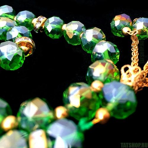 Декоративные чётки, зелёное стекло «под хрусталь» Image 2
