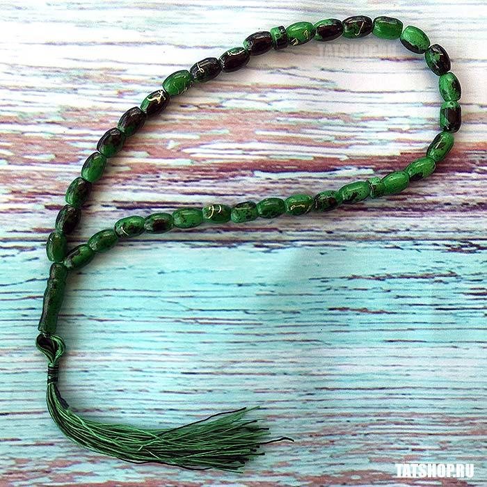 Мусульманские четки Тасбих из зелёного камня